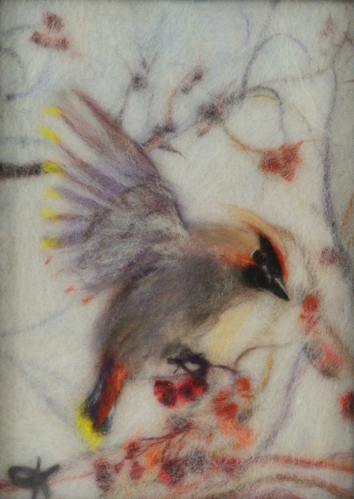 Wool picture of a bird picking cranberry. Wool Art Gallery