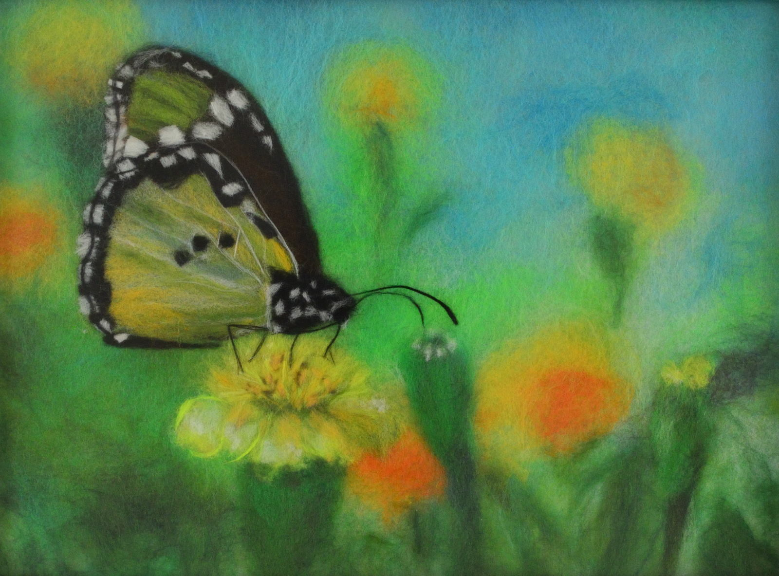 Wool picture with a butterfly sitting on a flower. Wool Art Gallery