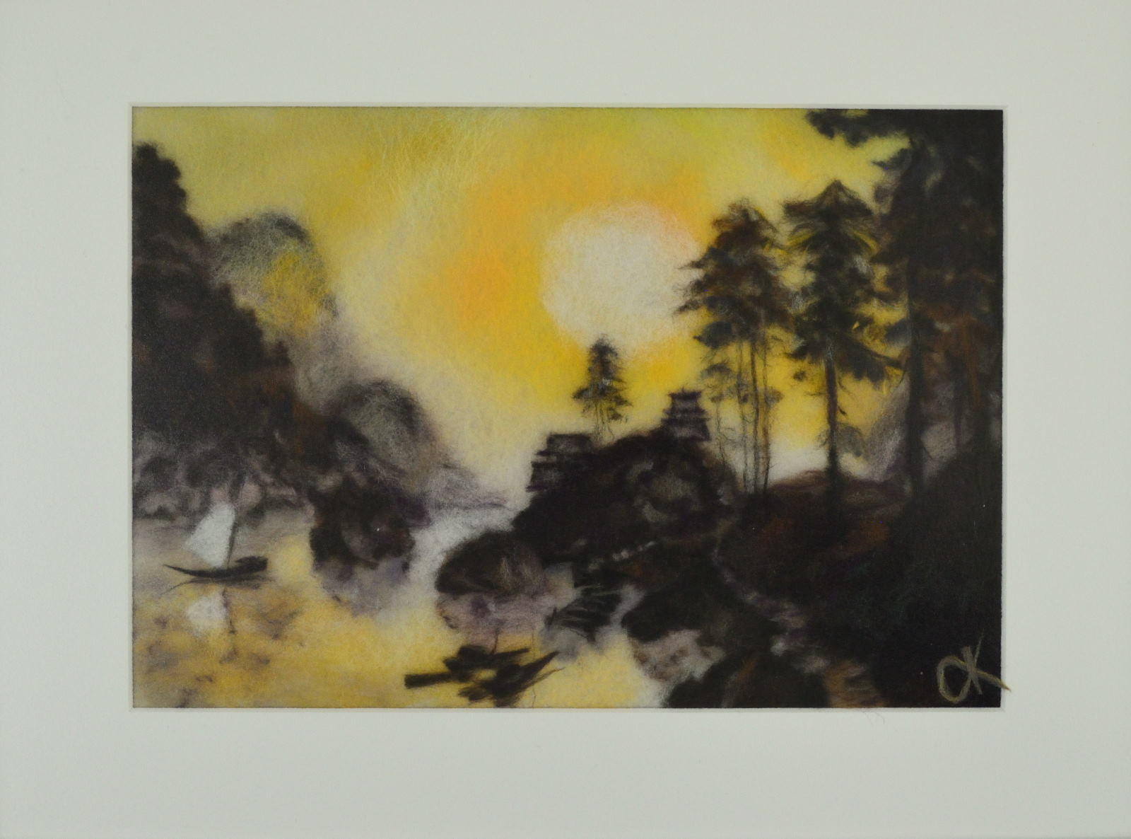 Japanese landscape. Wool Art Gallery. Picture made of merino wool