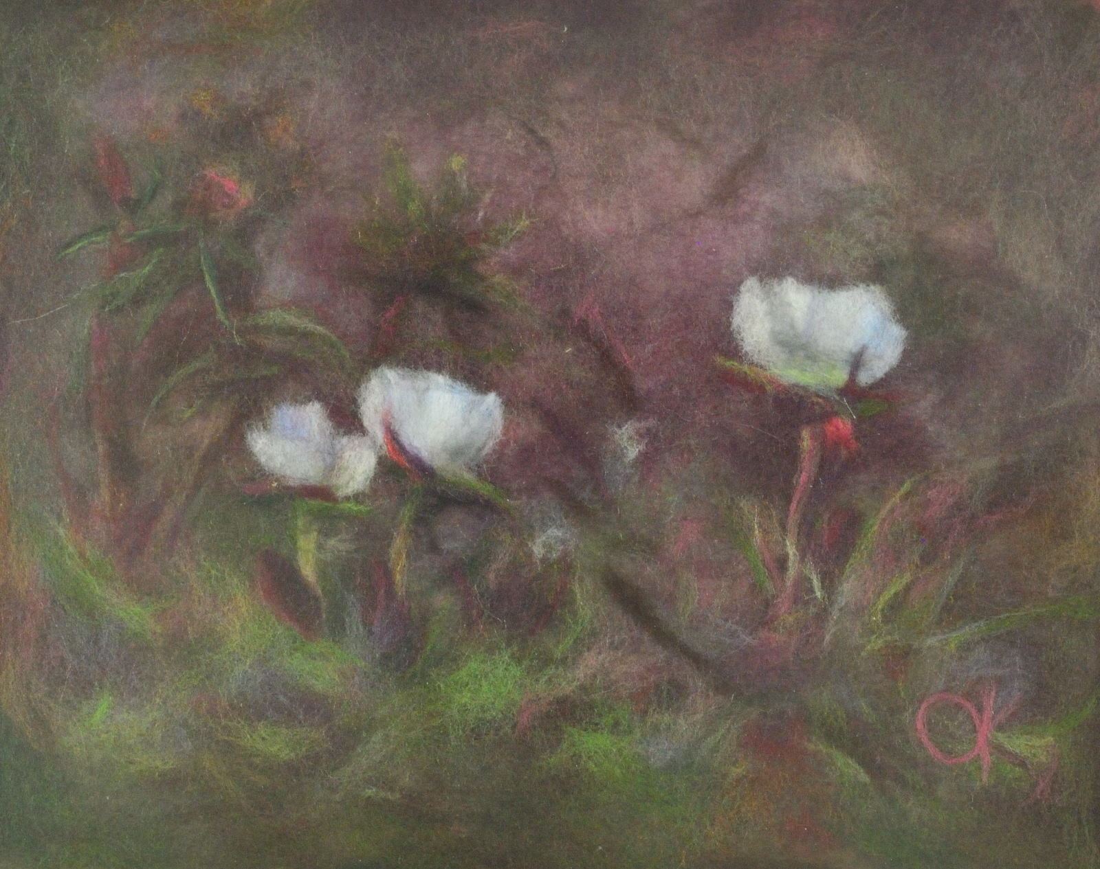 Marsh flowers. Wool Art Gallery. Picture made of fine merino wool