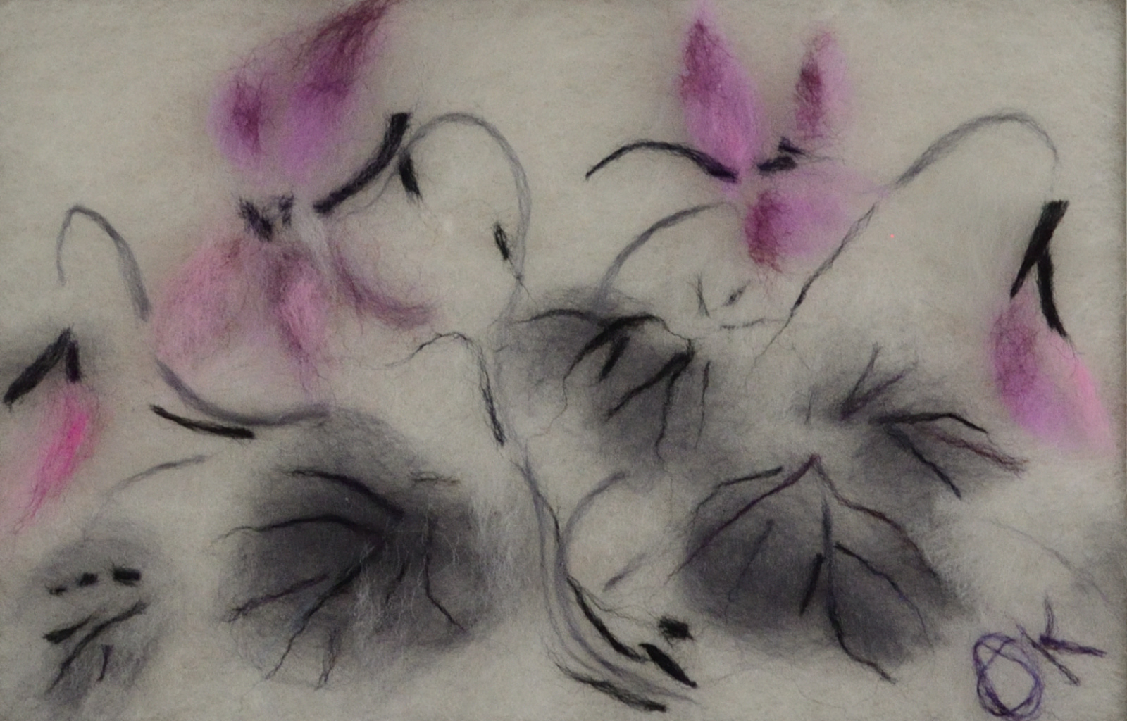 Pink flowers. Wool Art Gallery. Picture made of fine merino wool