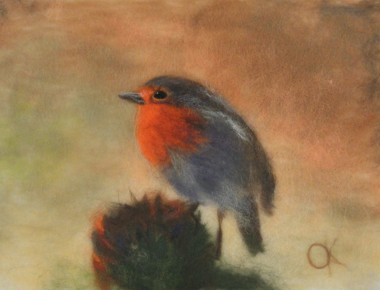 Redbreast robin. Wool Art Gallery. Picture made of merino wool
