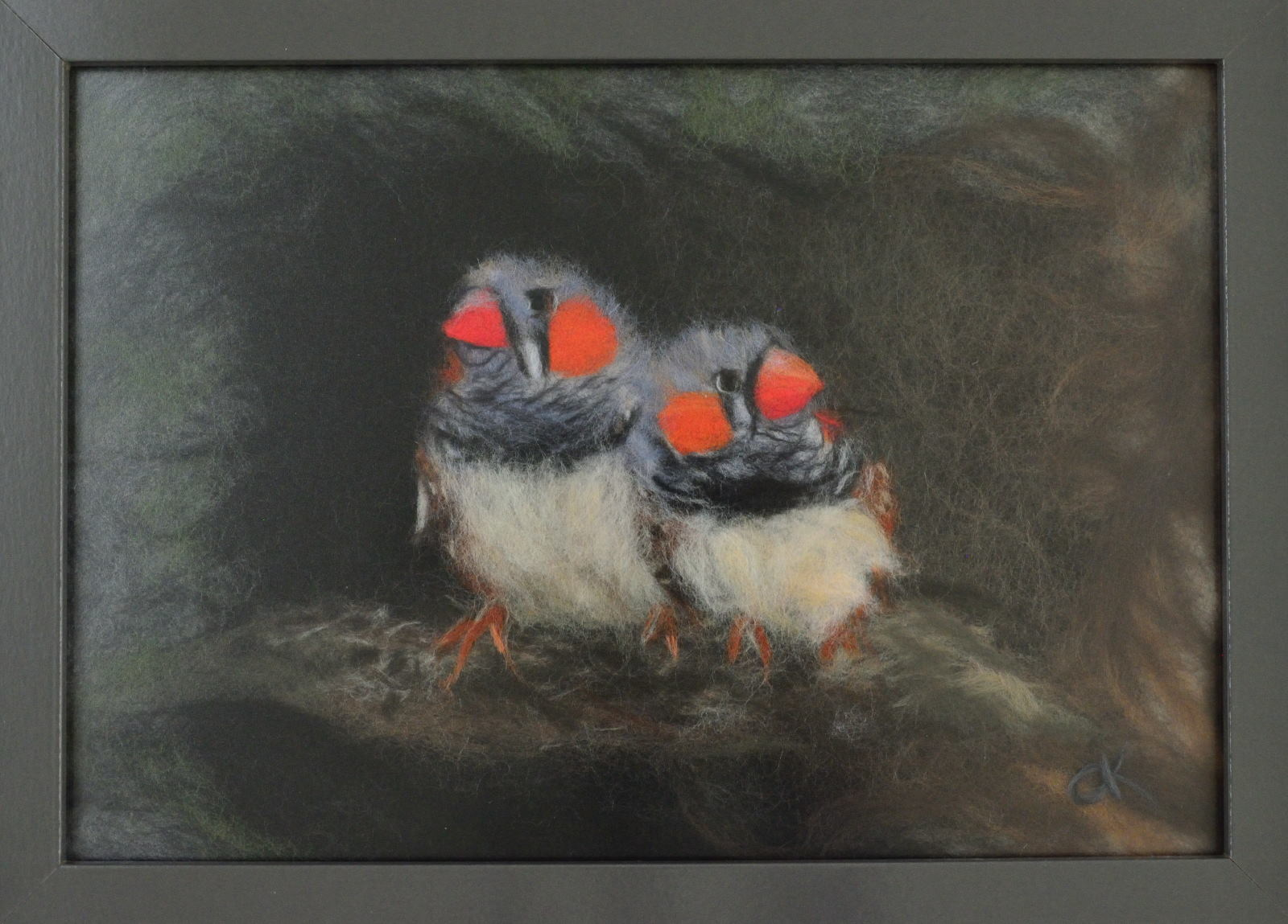 Two Parrots. Wool Art Gallery. Picture made of fine merino wool