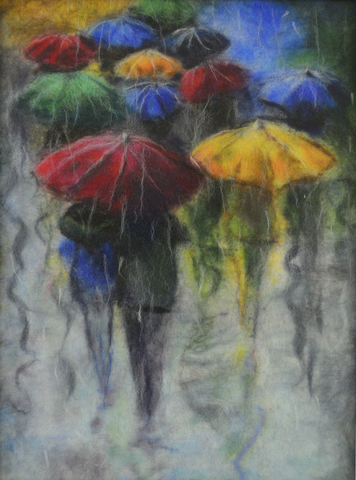 People with umbrellas. Rainy day. Wool Art Gallery. Picture made of fine merino wool